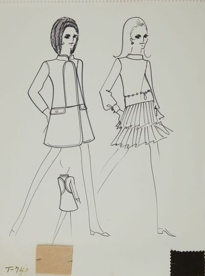 Karl Lagerfeld, 'Karl Lagerfeld Original Fashion Sketch Ink Drawing with Fabric T-740', 1963-1969