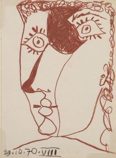 Pablo Picasso, 'Tete de Femme aux Yeux Pleins D'eclat, 1970, Wax color on paper, 37X27 cm. Dated. ', 1970