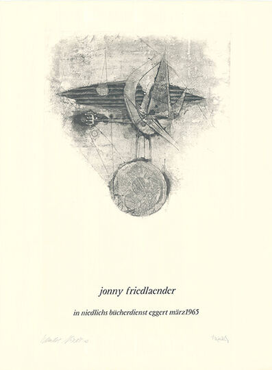 Johnny Friedlaender, 'Jonny Friedlaender in niedlichs bücherdienst eggert märz 1965', 1965