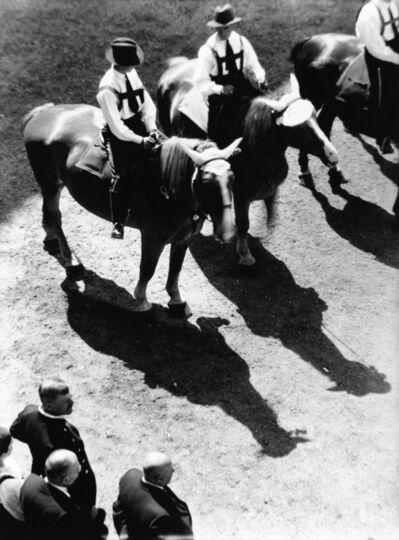 Hedda Morrison, 'Three horsemen at the Stuttgart Folk Festival', 1931