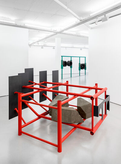 Ângela Ferreira, 'Crouch-touch-pause-engage (red)', 2020