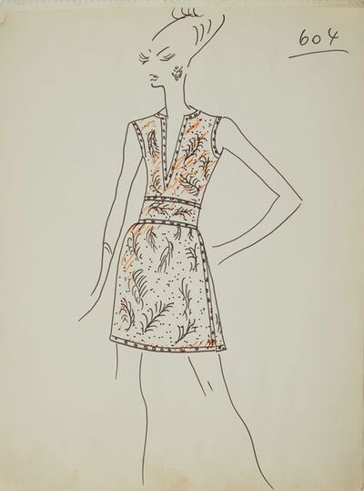 Karl Lagerfeld, 'Karl Lagerfeld Original Fashion Sketch Ink Drawing with Marker 604 Contemporary', ca. 1963-1969