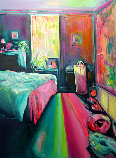 Ekaterina Popova, 'Resolution, Oil on canvas, bright and colorful textured bedroom interior', 2019