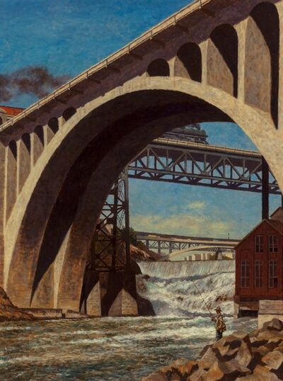 John Atherton, 'Monroe Street Bridge, Saturday Evening Post cover, June 12, 1948', 1948