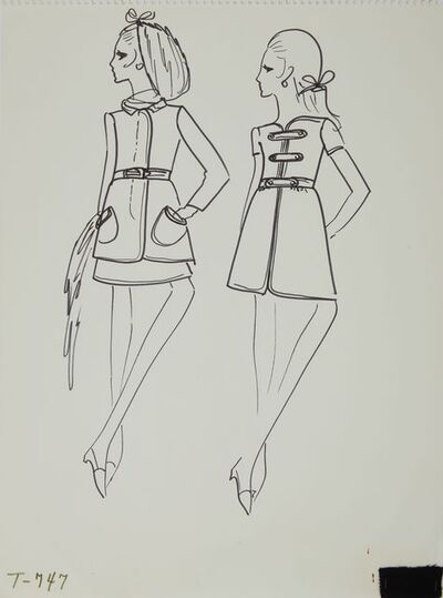 Karl Lagerfeld, 'Karl Lagerfeld Original Fashion Sketch Ink Drawing with Fabric  T-747', 1963-1969