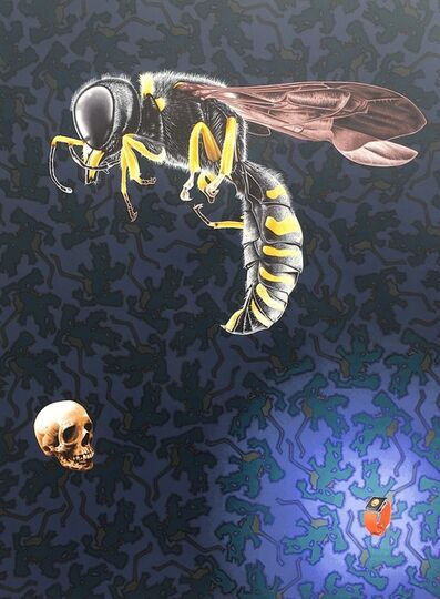 Stephen Hall, 'Painting of Bee with Skull: 'Time's Up' ', 2018