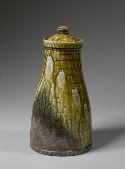 Mark Hewitt, 'Lidded jar, alkaline glaze with ember charring, horizontal incised bands, and blue glass runs', 2016