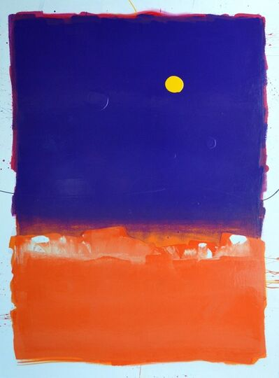 Anthony Hunter, 'Lovely Purple Heart Square on Top of Orange Square with Yellow Blob'