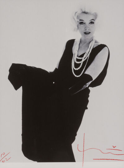 Bert Stern, 'Marilyn Monroe in black Dior dress with pearls, from The Last Sitting for Vogue', 1962