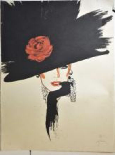 René Gruau, 'Black Hat with Rose', 1970