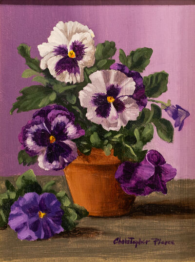 Christopher Pierce, 'Six White and Purple Pansies', ca. 2016