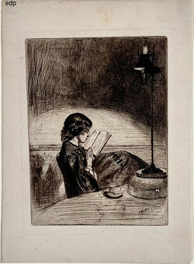 James Abbott McNeill Whistler, 'READING BY LAMPLIGHT', 1859