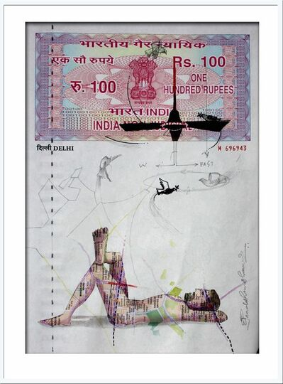 Pradosh Swain, 'Agreement with Mother-II : Mastery over Mixed Media on a INR 100 Court Paper By Contemporary Artist Pradosh Swain', 2011