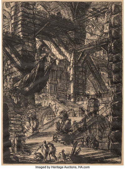 Giovanni Battista Piranesi, 'Staircase with Trophies, Plate VIII from: Carceri d'Invenzione', c. 1749
