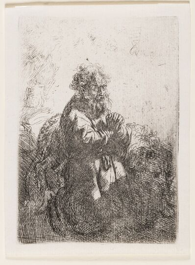 Rembrandt van Rijn, 'St. Jerome Kneeling in Prayer, Looking Down', circa 1635