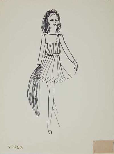 Karl Lagerfeld, 'Karl Lagerfeld Original Fashion Sketch Ink Drawing with Fabric T-782', 1963-1969
