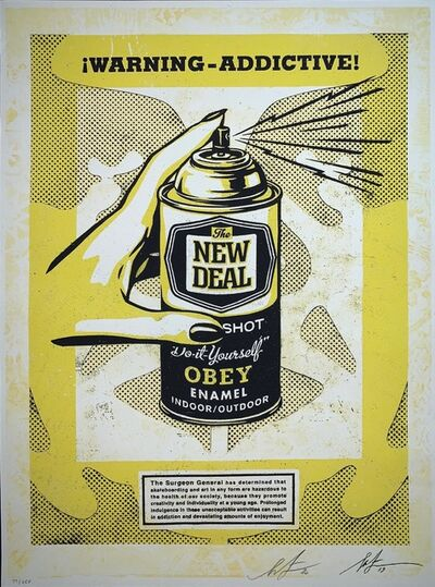 "Shepard Fairey (OBEY), 'Shepard Fairey Print ""Warning Addictive"" Spray Print Screen Print Dual Signature', 2020"