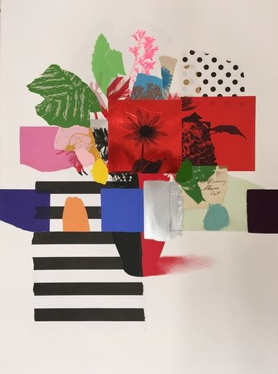Emily Filler, 'Paper Bouquet (red flower + stripes)', 2019