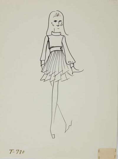Karl Lagerfeld, 'Karl Lagerfeld Original Fashion Sketch Ink Drawing with Fabric T-780', ca. 1963 -1969