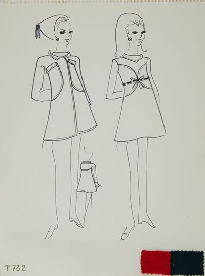 Karl Lagerfeld, 'Karl Lagerfeld Original Fashion Sketch Ink Drawing with Fabric T-732', 1963-1969