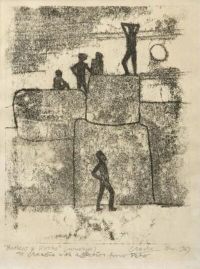 Peter Clarke (1929-2014), 'Bathers & Rocks', 1967