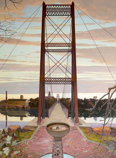 John Moore (b.1941), 'Fountain and Footbridge', 2019