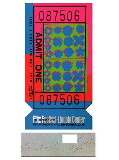 "Andy Warhol, '""Lincoln Center Ticket"", 1967, SIGNED, ACRYLIC DIE-CUT Edition of 200', 1967"