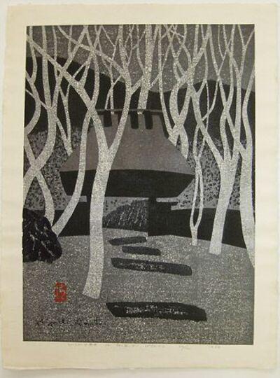 Kiyoshi Saito, 'Snow at Temple', 1964