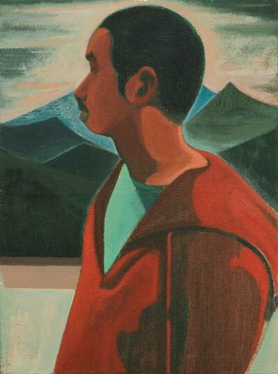 Xiao Jiang 肖江, 'A Self Portrait in front of a Landscape Painting', 2017
