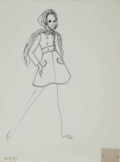 Karl Lagerfeld, 'Karl Lagerfeld Original Fashion Sketch Ink Drawing with Fabric Swatch T-737 Contemporary Art', 1963-1969