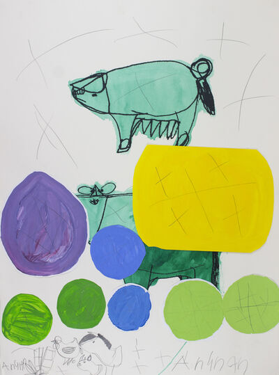 Arunan Dharmalingam, 'Green Pig & Cow', 2017