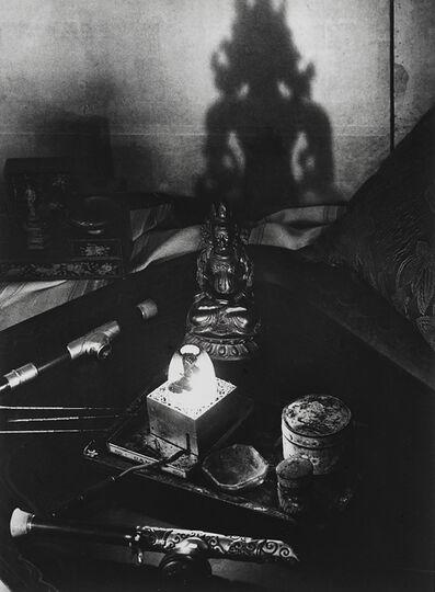 Brassaï, 'Nature morte, une fumerie d'opium, avenue Bosquet, le plateau avec les pipes… (Still life, an opium den, Avenue Bosquet. A tray with pipes, pins, oil lamp…)', ca. 1931