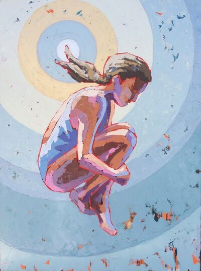 """Paul Norwood, '""""Sunsplash"""" Painterly Impasto on a girl in a swimsuit jumping with pastel blue background', 2010-2017"""