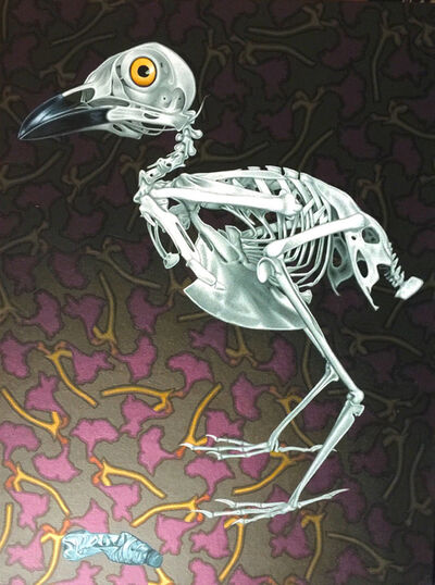 Stephen Hall, 'Painting of bird skeleton with tin tube: 'Restricted Diet'', 2016