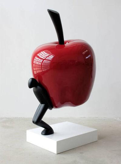 Lucio Perone, 'Senza titolo - Omino con mela rossa', 2018