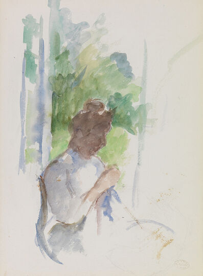 Mary Cassatt, 'Profile of Seated Woman Sewing (Femme Assise Cousant)', ca. 1906