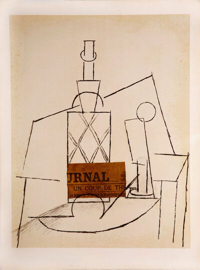 Pablo Picasso, 'Papiers Collés Series, Bouteille de Rhum Paillée, Verre et 'Le Journal'', 1966