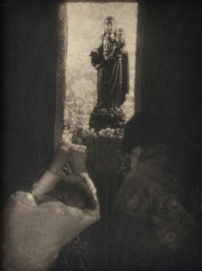 Doris Ulmann, 'Untitled (Two people bowing before a statue of a Madonna and child)', nd