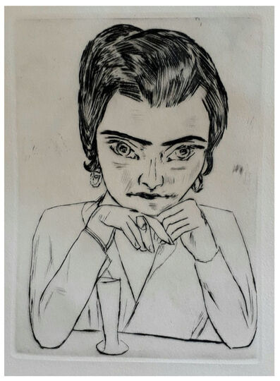 Max Beckmann, 'Portrait of Naila Leaning on her Arms, with Glass', 1923