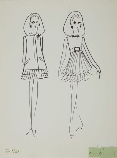 Karl Lagerfeld, 'Karl Lagerfeld Original Fashion Sketch Ink Drawing with Fabric T-781', ca. 1963-1969
