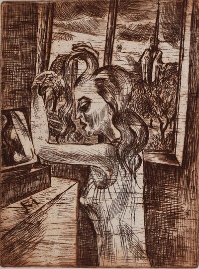 Conrad Felixmuller, 'Woman in the Morning - Grooming | Frau in der Morgen Kämmen', 1920