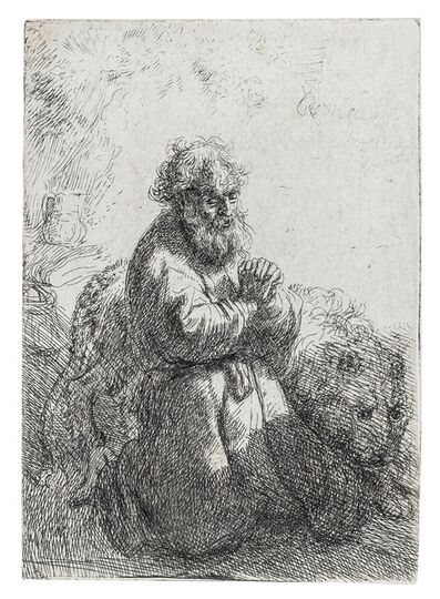 Rembrandt van Rijn, 'St. Jerome Kneeling in Prayer, Looking Down', 1635