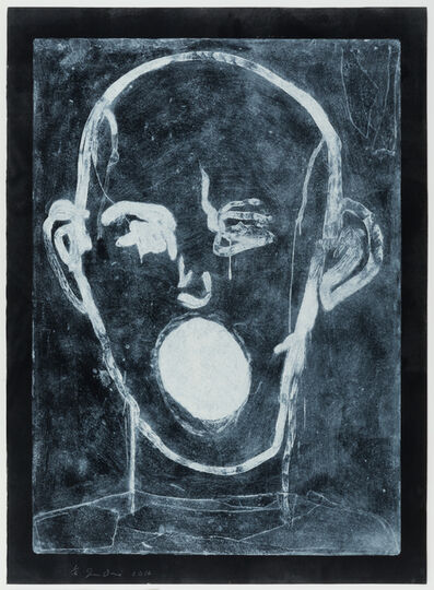 Jim Dine, 'White on Black, Poet Singing', 2016