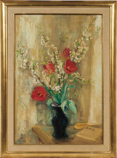 Le Pho, 'Les tulipes rouges et les fleurs de pommier (Red Tulips and Apple Blossoms)'
