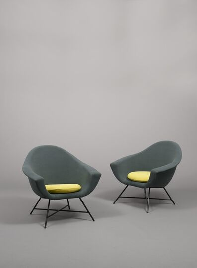 Geneviève Dangles and Christian Defrance, 'Pair of high-back armchairs 58 - Corbeille', 1958
