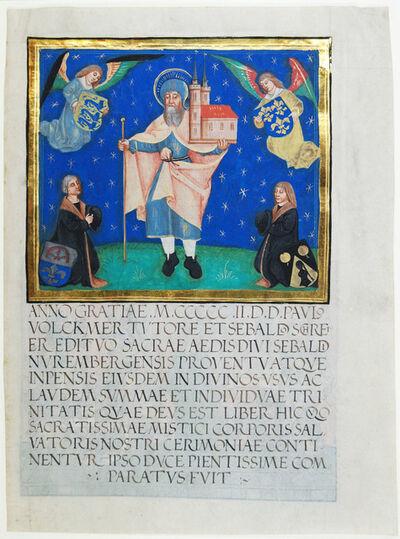 Schreyer Master Workshop, 'Two Nuremberg citizens kneeling in front of St. Sebaldus', 1502