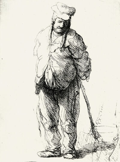 Rembrandt van Rijn, 'A Ragged Peasant with his Hands Behind Him, Holding a Stick', circa 1633