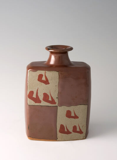 Shinsaku Hamada, 'Bottle, kaki glaze with akae decoration'