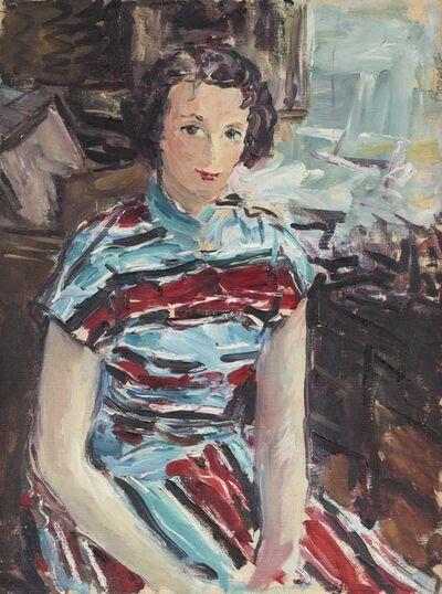 Dimitrie Berea, 'Portrait de femme à la robe rouge et bleue'