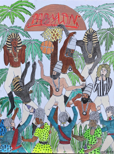 Umar Rashid (Frohawk Two Feathers), 'Colonial Origins of the NBA Classic #1 (Babylon)', 2019